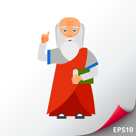 buddhist monk: Old Man with Book as Wisdom Concept Icon