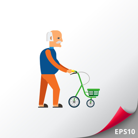 Old man with walkers flat icon
