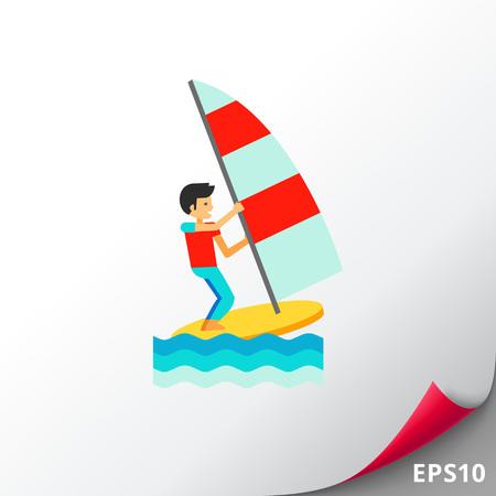 windsurf: Wind Surfing Icono Vectores