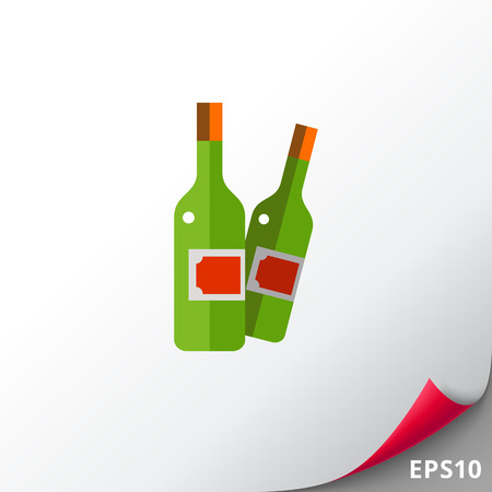 winemaking: Multicolored vector icon of two closed wine bottles