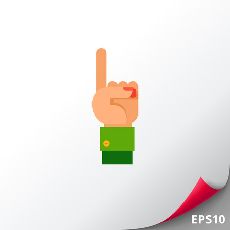 Illustration of left hand with one finger up. Hand gesture, number, index finger. Hand gesture concept. Can be used for topics like hand gesture, counting, nonverbal communication Stock Photo