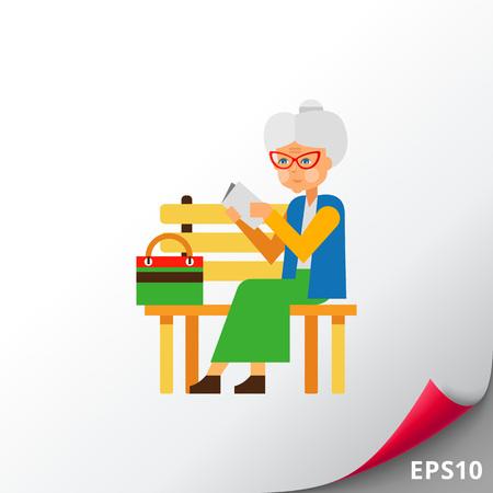 Mujer de edad avanzada como la soledad Concepto Icono