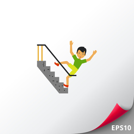 slip homme: Falling Down Stairs Flat Icon Illustration