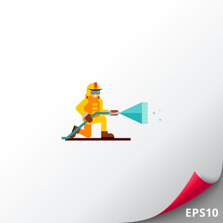 flammable warning: Firefighter flat icon Illustration