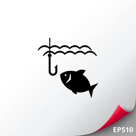 Fish and fish hook Illustration