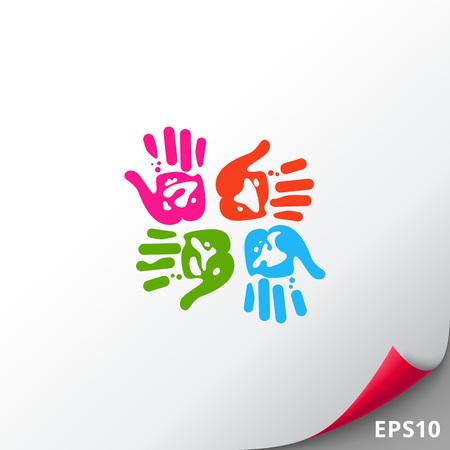 handprints: Four Colorful Handprints Icon