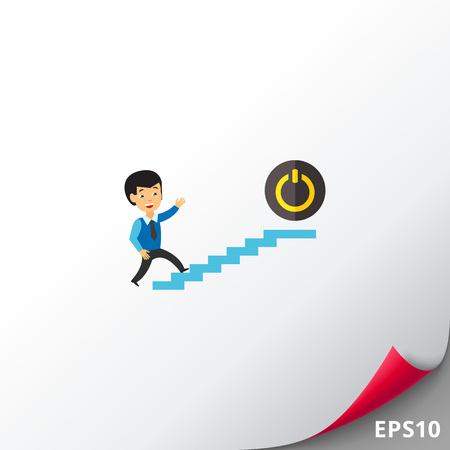 Businessman and Power Button Icon