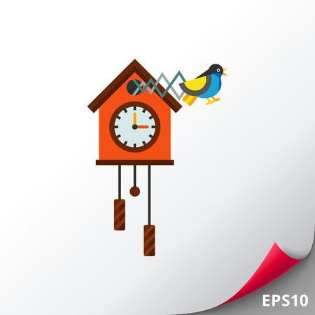 Cuckoo Clock Vector Icon Illustration