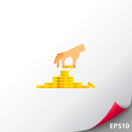 banco dinero: Deposit Concept with Coins Icon