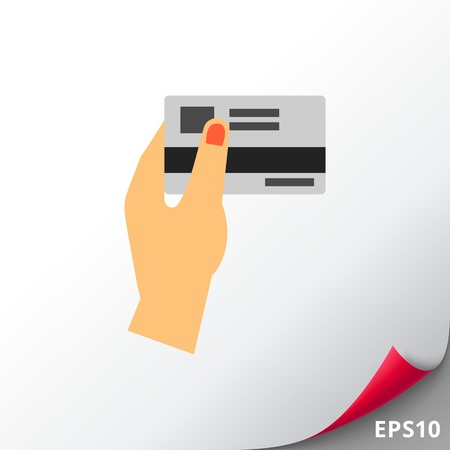 Female hand holding discount card icon
