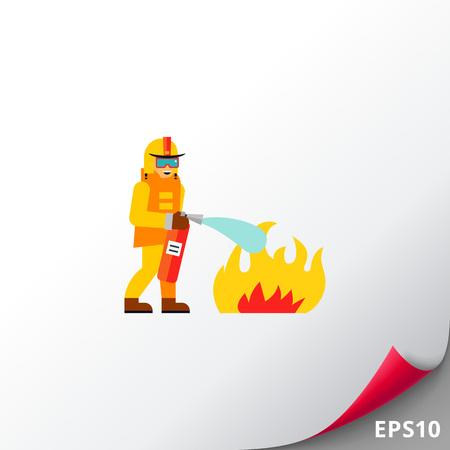 Firefighter Extinguishing Fire Icon Illustration