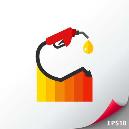 Gas price going down graph icon Illustration