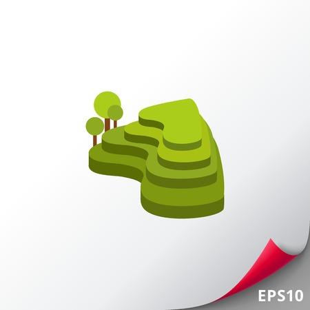 Groene rijstterrassen icoon Vector Illustratie