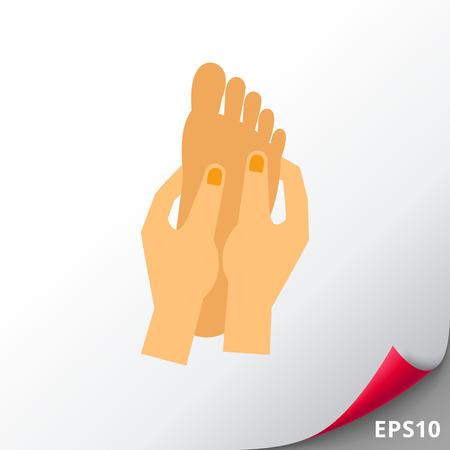 Las manos que masajean el icono del pie