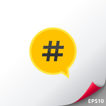 Icon of hashtag symbol in dialogue cloud. Social networking, searching, internet. Internet concept. Can be used for topics like technology, virtuality or social networking
