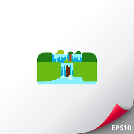 Vector icon of Iguassu Falls. Natural landmark, South America, natural wonder. Nature and Argentina concept. Can be used for topics like tourism, travelling, geography