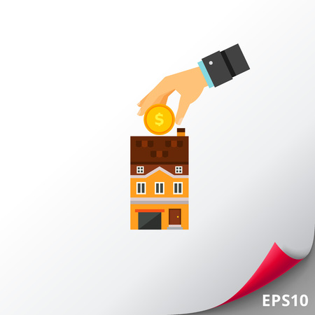 Human hand holding a coin over house. Housing development, real estate purchase, housing credit. Investment concept. Can be used for topics like business, construction, finance