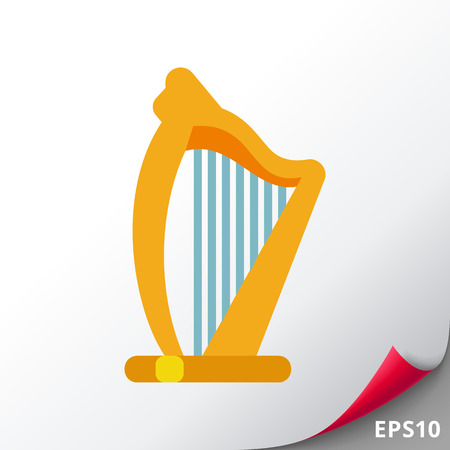 Vector icon of Irish harp. Irish emblem, Celtic music, musical instrument. Ireland and music concept. Can be used for topics like music, Celtic culture, Irish symbols