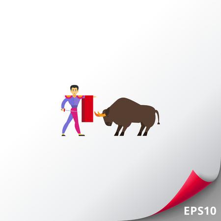 Matador fighting against bull icon