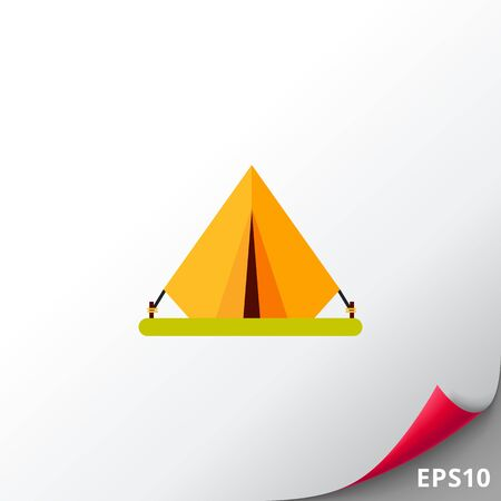 Pitched Tent Icon Illustration