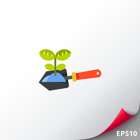 Plant on spade vector icon Illustration