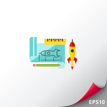 Prototype Rocket Icon Illustration