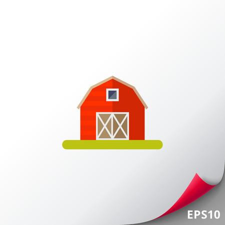 Red hangar in village icon