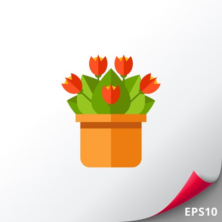 Red potted flower icon