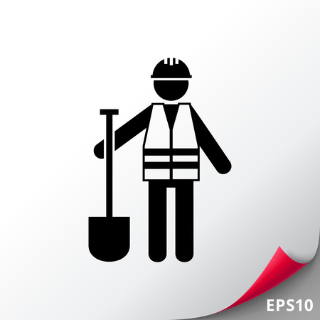 Roadworker in Sicherheitsweste Icon Standard-Bild - 74162766