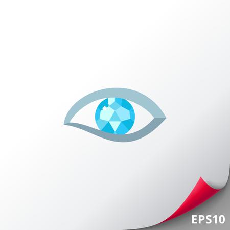 human eye: Human diamond eye vector icon