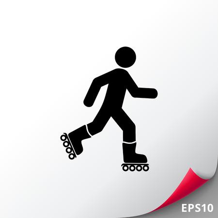 Roller Skating Man Icon Illustration