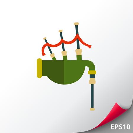 celtic background: Scottish bagpipe icon