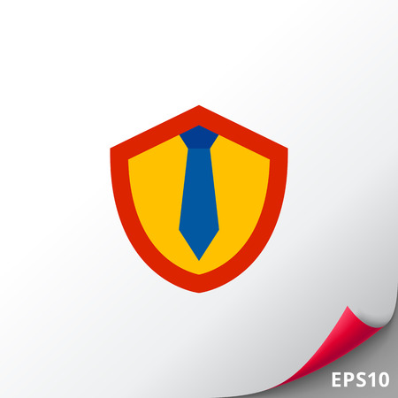 Shield with Tie as Lawyer Concept Icon Foto de archivo