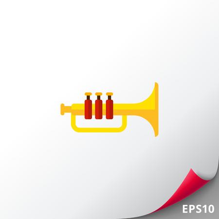 red sound: Shiny trumpet icon Stock Photo