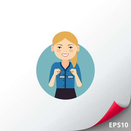 Smiling businesswoman taking glasses off Illustration