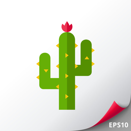 Icon of thorny cactus in desert. Succulent plant, thick stem, hot, dry climates. Mexican nature concept. Can be used for topics like flora, tropical plant or wilderness Çizim