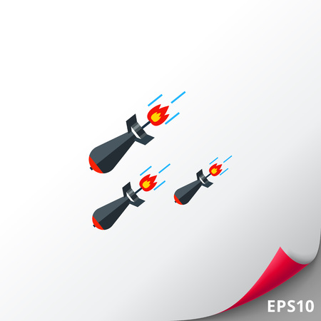Three falling military missiles. Weapon, war, explosion. Missiles concept. Can be used for topics like war, weapon, technology, science. Illustration