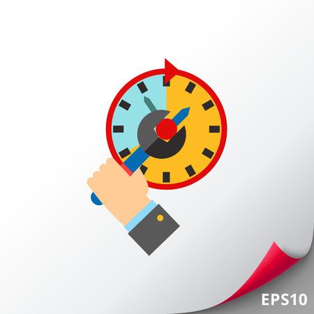 puntualidad: Concepto de gestión de tiempo y icono de llave inglesa