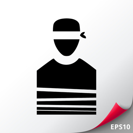 Tied Hostage with Blindfold Icon 일러스트