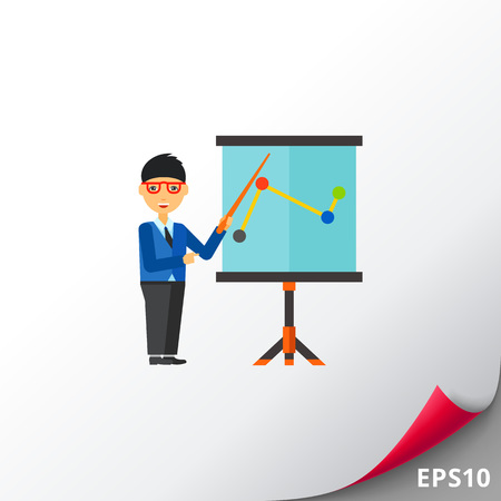 the topics: Businessman in glasses standing at flipchart and pointing at chart. Business coaching, lecture, seminar. Training concept. Can be used for topics like business, education, advanced training