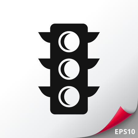 Vector icon of black traffic light silhouette