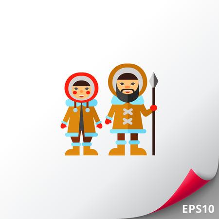 Deux Esquimaux Icône Banque d'images - 74246251