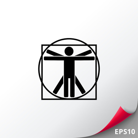uomo vitruviano: Minimalistic Vitruvian man. Study, proportion, classic, knowledge. Vitruvian man concept. Can be used for topics like education, teaching, training. Vettoriali