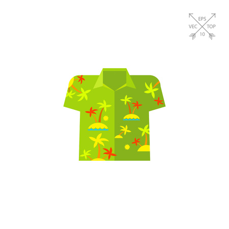 Aloha shirt flat icon. Multicolored vector illustration of shirt with palm trees