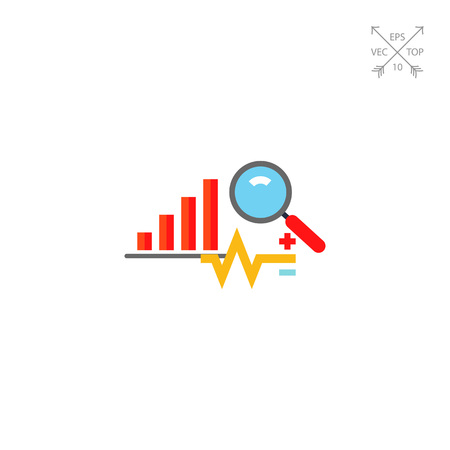 Graph, data, diagram and magnifying glass. Assessment, report, strategy. Business analysis concept. Can be used for topics like business, management, finance, business analysis, trading.