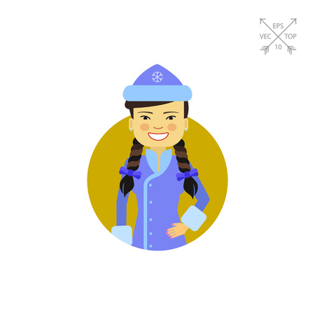 Asian woman in fancy dress with hat Illustration