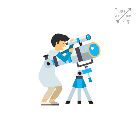 Astronomer Using Telescope Icon Illustration
