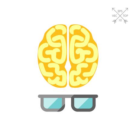 Brain with glasses 일러스트