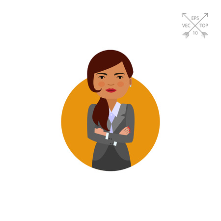 Businesswoman with hands crossed on chest Illustration