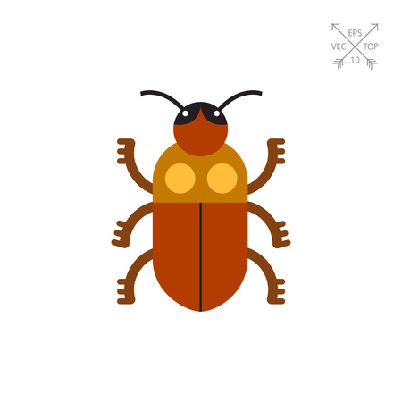 Multicolored vector icon of brown beetle, top view